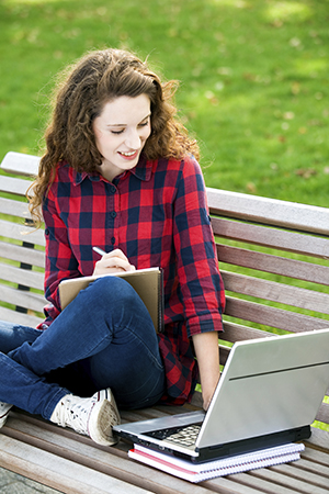 girl studying outside